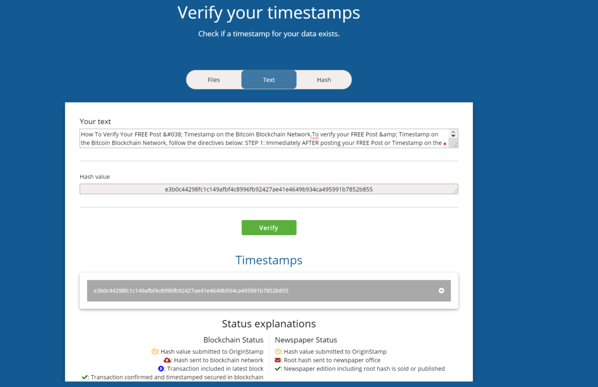 How To Verify Your FREE Post & Timestamp on the Bitcoin Blockchain Network